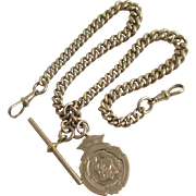 9k / 9ct gold double albert graduating watch chain with inscribed pendant fob vintage Art Deco 1920 marked