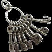 Sterling silver 'I love you' key pendant charm Vintage c1960