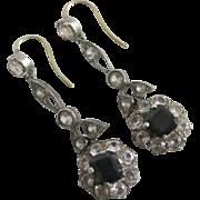 Faux sapphire & diamonds in sterling silver dangling ear pendant earrings vintage Art Deco c1920