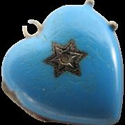 Baby blue enamel sterling silver heart double pendant locket antique Victorian c1880 a/f