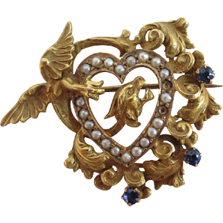 Blue tourmaline & seed pearl 14k / 14ct gold heart dragon brooch pin antique Victorian c1890