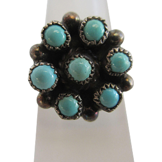 Turquoise in sterling silver Austro Hungarian ring antique Victorian c1890