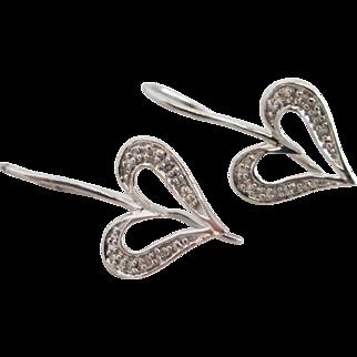 White sapphire in 10k / 10ct white gold heart pendant earrings Vintage c1980