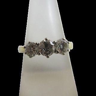 Triple diamond 18k / 18ct gold ring size UK O+ / US 7.5 vintage 2002