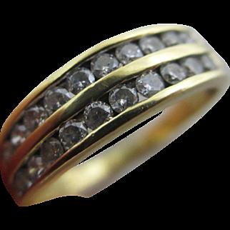 0.5 carat diamond 18k / 18ct gold ring size UK P /US 7.75 vintage c1980