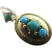 Turquoise 15k 15ct gold dangling pendant locket antique Victorian c1860