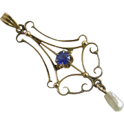 Sapphire paste dangling pearl 9k 9ct gold pendant lavalier antique Victorian c1890