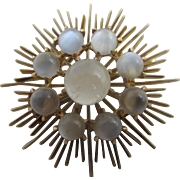 Cabochon moonstone 14k 14ct gold brooch pin Vintage c1960