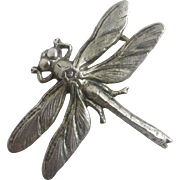 Sterling silver dragonfly brooch pin vintage Art Deco c1920