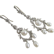 Pearl & paste in sterling silver & 9k 9ct gold dangling ear pendant earrings vintage Art Deco c1920