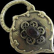 Garnet in 15k 15ct gold padlock clasp pendant antique Victorian c1860