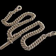 9k 9ct rose gold double albert watch chain antique Victorian c1890