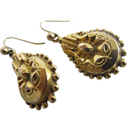 9k 9ct gold puffy dangling ear pendant earrings vintage Art Deco c1920