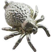 Opening spider sterling silver english pendant charm Vintage c1960