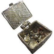 Opening picnic basket sterling silver pendant English charm vintage c1960