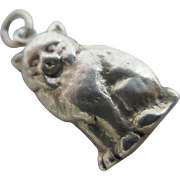 Sitting cat sterling silver pendant English charm vintage c1960