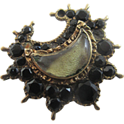 Whitby jet rock crystal lens 15k 15ct gold crescent moon mourning brooch pin antique Georgian c1820