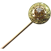Diamond 14k 14ct gold stick pin brooch antique Victorian c1890