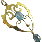 Blue tourmaline 9k 9ct gold dangling pendant lavalier antique Victorian c1890
