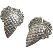 Sterling silver pinecone earrings vintage Art Deco c1920