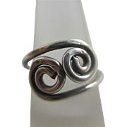 Sterling silver swirl adjustable ring size UK L US 5.75 vintage c1970
