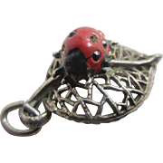 Enamel sterling silver ladybird bug pendant english Nuvo charm vintage c1960
