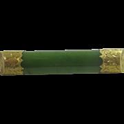 Jade in 9k 9ct gold brooch pin antique Edwardian c1910