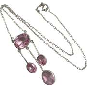 Pink paste in sterling silver dangling pendant necklace antique Victorian c1890