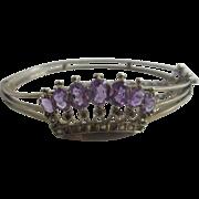 Real amethyst crown silver bangle bracelet antique Edwardian c1910