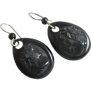 Whitby jet cameo dangling ear pendant earrings antique Victorian c1860