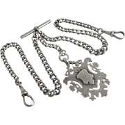 Sterling silver graduating double albert watch chain with shield fob pendant antique Edwardian c1910