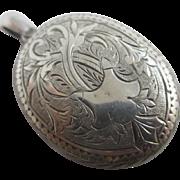 Sterling silver double pendant locket antique Victorian c1880