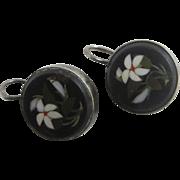 Pietra dura flowers sterling silver dangling ear pendant earrings antique Victorian c1860