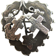 Sterling silver faith hope charity heart brooch pin antique Victorian 1896 Chester English hallmarks