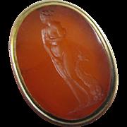 Intaglio carnelian 9k 9ct gold fob seal pendant antique Victorian c1840