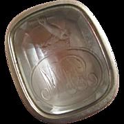 Intaglio rock crystal family crest 9k 9ct gold cased fob seal pendant antique Victorian c1840