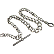 Sterling silver graduating albert watch chain antique Victorian c1890