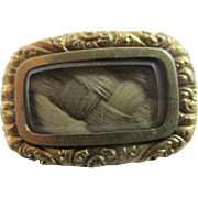 Inscribed 1829 braided hair 9k 9ct gold mourning brooch pin antique Georgian