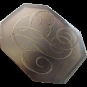 Intaglio initials agate 9k 9ct gold fob seal pendant antique Georgian c1820