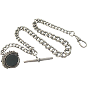 Sterling silver graduating albert watch chain with bloodstone & agate flip swivel pendant fob antique Edwardian c1903