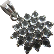 Cabochon rock crystal sterling silver dangling pendant Vintage c1980