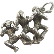 Sterling silver 'See, Hear, Speak no Evil' monkey pendant English charm vintage c1970