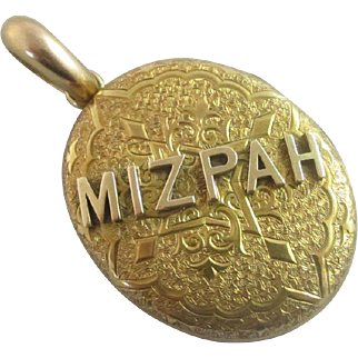 Mizpah 15k 15ct gold double pendant locket antique Victorian c1880