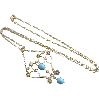 Turquoise seed pearl 9k 9ct gold dangling pendant necklace antique Victorian c1890