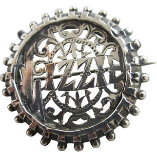 Sterling silver name 'Lizzie' brooch pin antique Edwardian 1908 English hallmarks