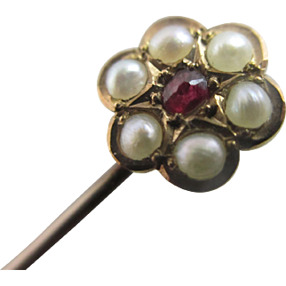 Ruby seed pearl 15k 15ct gold stick pin brooch antique Victorian c1890