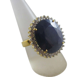 Large real sapphire diamond 14k 14ct gold ring size UK P+ US 8 vintage c1980
