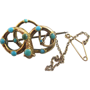 Turquoise in 9k 9ct gold entwined snake brooch pin antique Victorian c1860