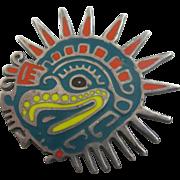 Enamel Mexican sterling silver bird head brooch pin Vintage c1970
