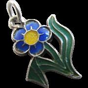 Enamel sterling silver forget me not flower pendant charm Vintage c1950